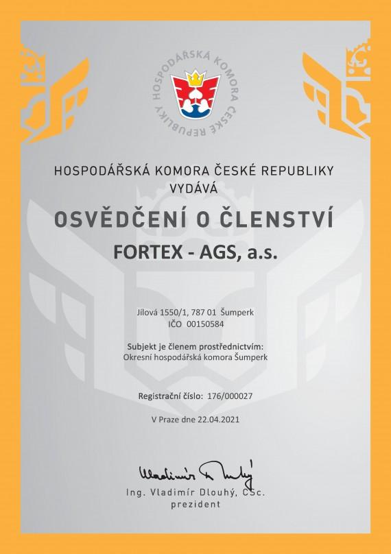 Hospodářská komora České republiky - Osvědčení o členství FORTEX - AGS, a.s.